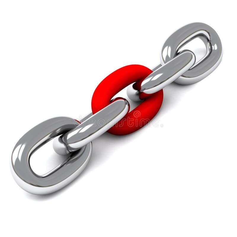 catena dell'argento 3d con il collegamento rosso illustrazione di stock