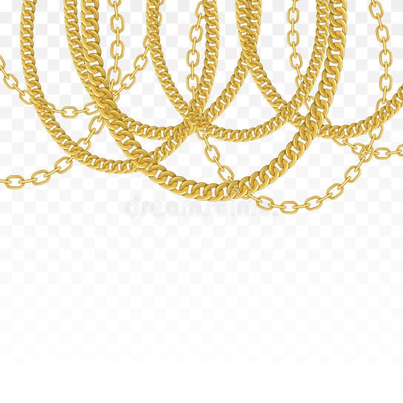 Catena dell'oro isolata Collana di vettore illustrazione vettoriale