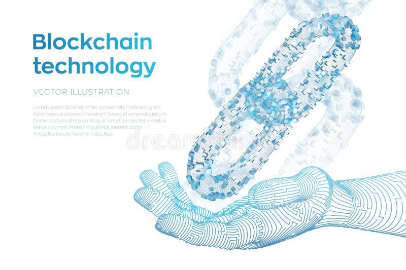 Catena di blocco Valuta cripto Concetto di Blockchain catena del wireframe 3D con i blocchi digitali in mano robot Cryptocurrency illustrazione vettoriale
