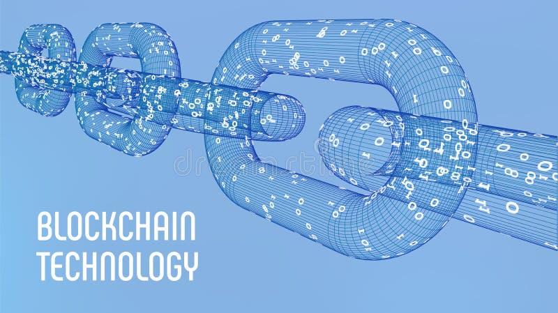 Catena di blocco Valuta cripto Concetto di Blockchain catena del wireframe 3D con il codice digitale Modello editabile di Cryptoc royalty illustrazione gratis