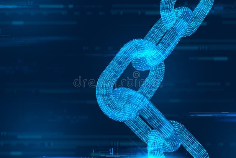 Catena di blocco Valuta cripto Concetto di Blockchain catena del wireframe 3D con il codice digitale Modello editabile di Cryptoc illustrazione di stock