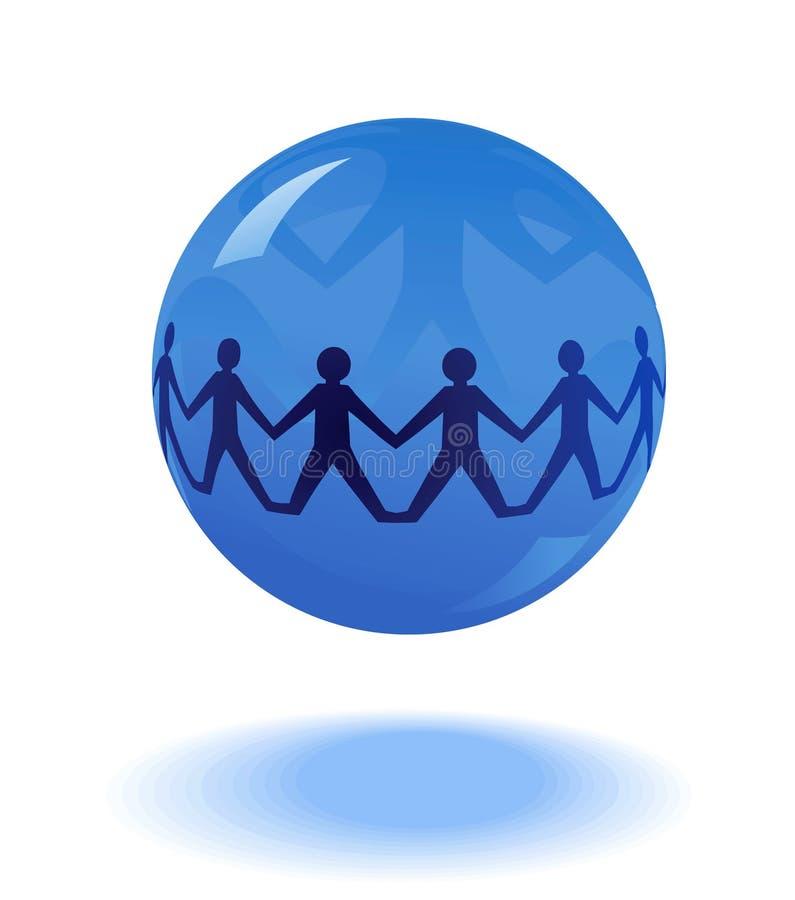 Catena di carta della gente in globo blu royalty illustrazione gratis