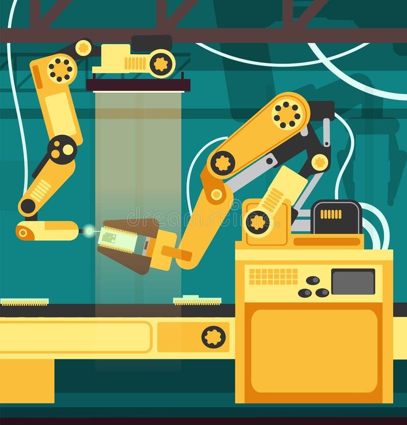 Catena di montaggio automatica fabbricante con le armi robot Concetto di vettore di ingegneria e di tecnologia royalty illustrazione gratis
