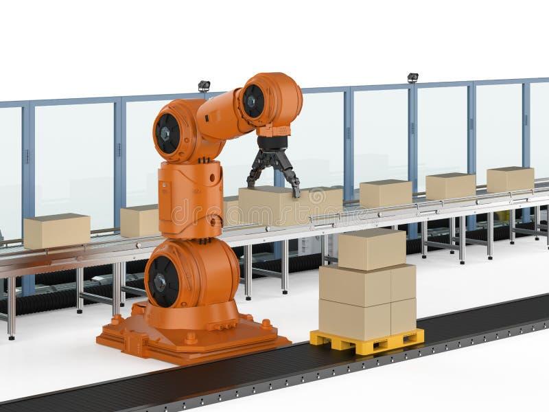 Catena di montaggio del robot illustrazione di stock