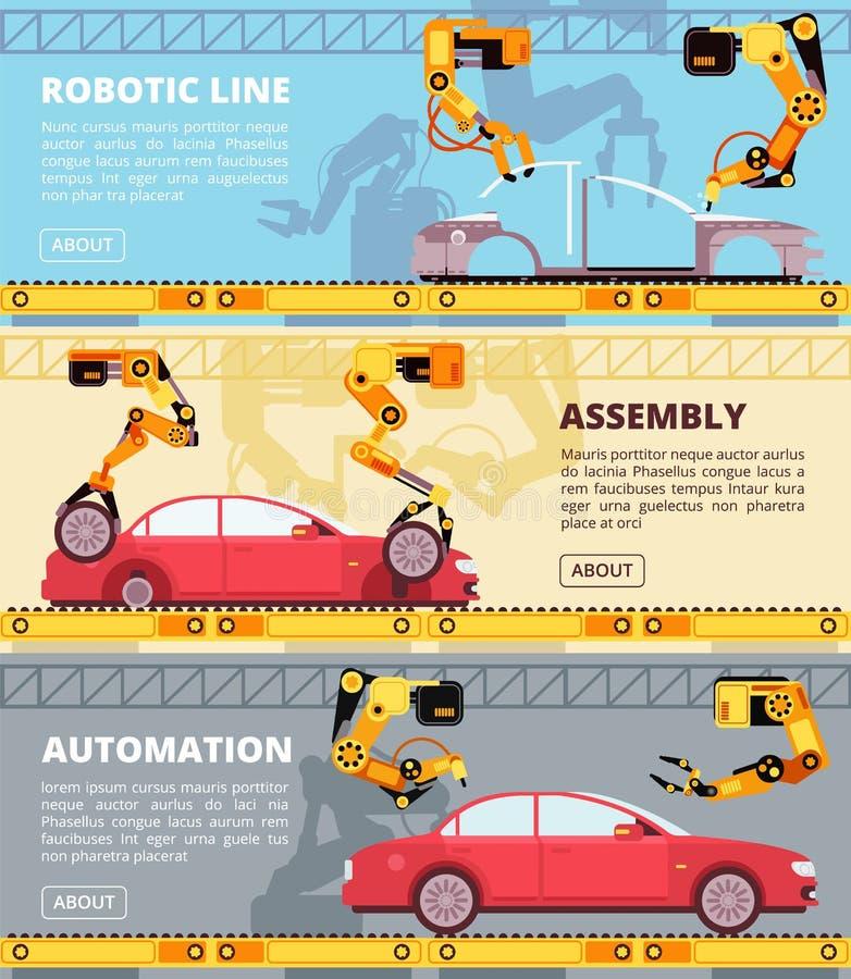 Catena di montaggio di industria automobilistica Fabbrica automatica di produzione con i robot industriali Insieme fabbricante de royalty illustrazione gratis
