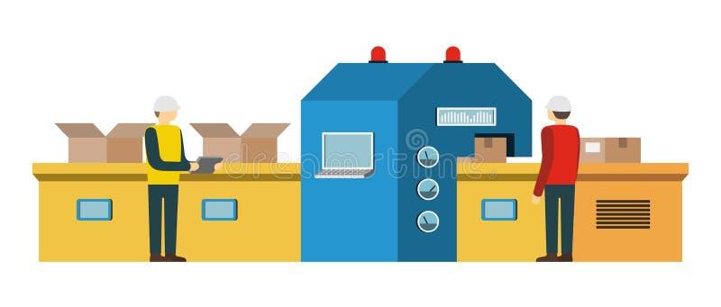 Catena di montaggio Sistema di trasportatore automatizzato illustrazione vettoriale