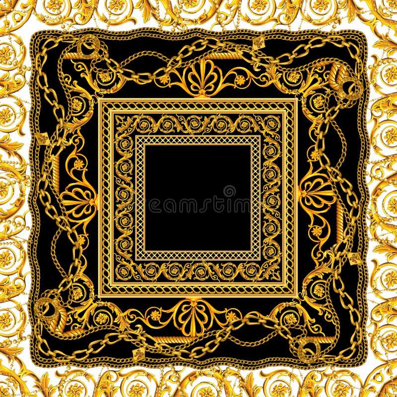 Catena dorata barrocco senza cuciture nella progettazione nera bianca della sciarpa illustrazione vettoriale