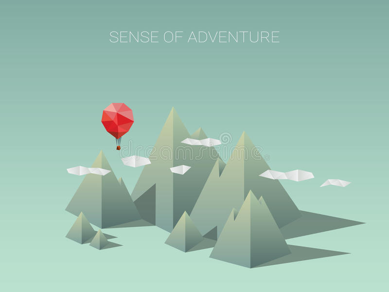 Catena montuosa poligonale con il pallone rosso Poli concetto di progetto basso moderno per il viaggio e l'avventura illustrazione vettoriale