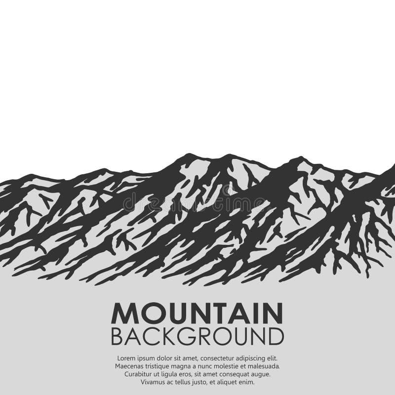 Catena montuosa su fondo bianco illustrazione di stock
