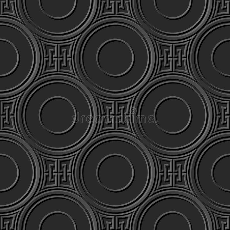 Catena quadrata rotonda dell'incrocio del modello 016 di carta scuri eleganti senza cuciture di arte 3D illustrazione vettoriale