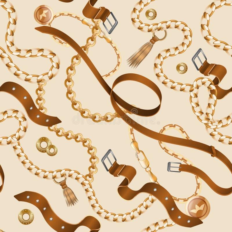 Catene e modello delle trecce Carta da parati ornamentale senza cuciture, cinghia di cuoio realistica e mobilia dorata Braccialet royalty illustrazione gratis