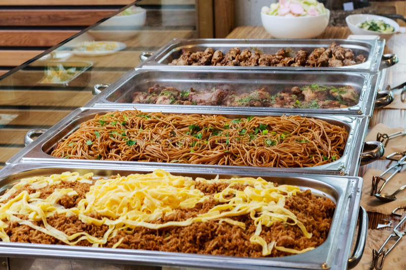 Catering Buffet Asian Food Dish with Meat stock photo