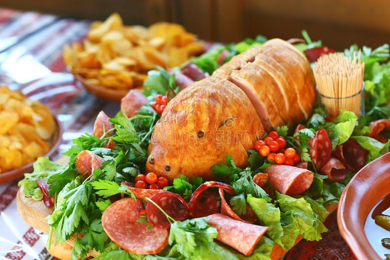 Catering Buffet Food Dish with Meat and Colorful vegetables on a Table stock photos