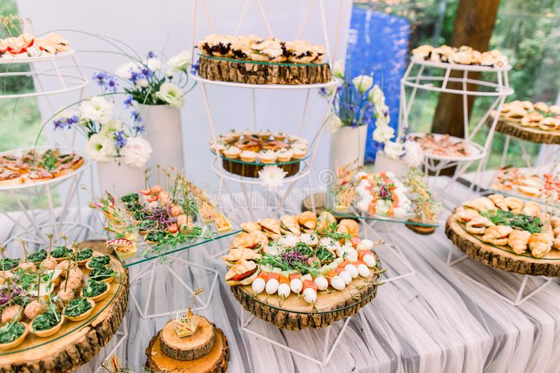 Catering buffet and rustic decor, outdoor wedding party with healthy food snacks.  stock images