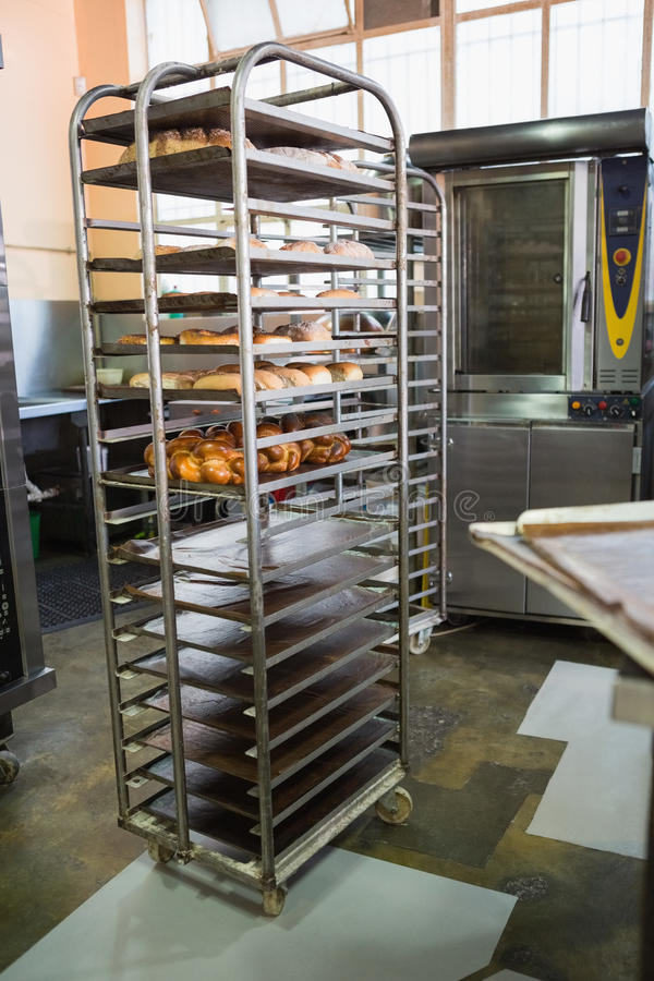 Catering building with shelf of fresh breads royalty free stock images
