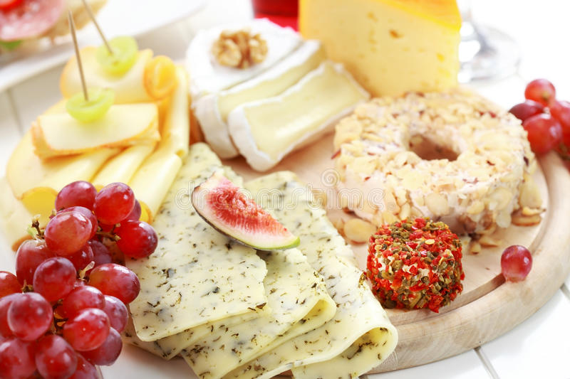 Catering cheese platter royalty free stock photo