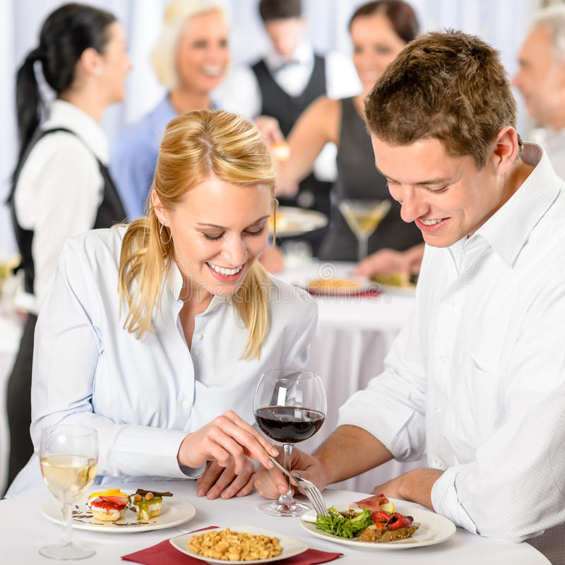 Free Catering Company Event Young Colleagues Eat Royalty Free Stock Images - 24891529