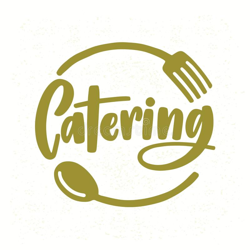 Catering company logo with elegant lettering handwritten with cursive font decorated with fork and spoon. Creative food. Service logotype isolated on white royalty free illustration
