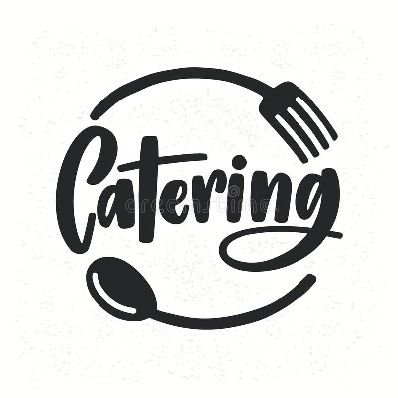 Catering company logotype with lettering written with calligraphic cursive font decorated with cutlery or kitchenware stock illustration