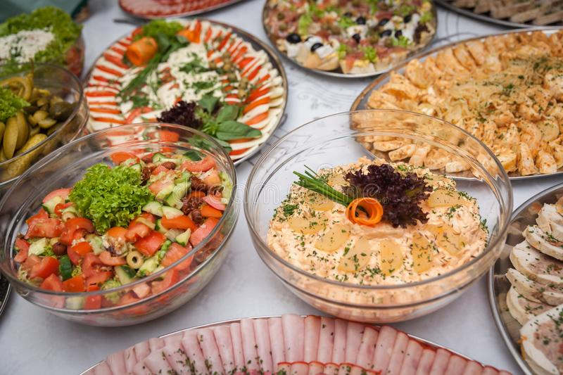 Catering for corporate parties and weddings. Full of good food royalty free stock photography