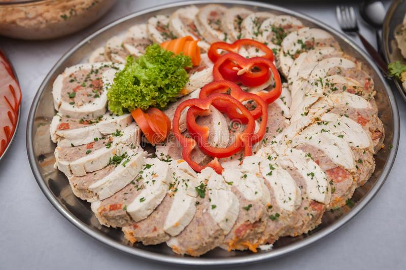 Catering for corporate parties and weddings. Full of good food stock images