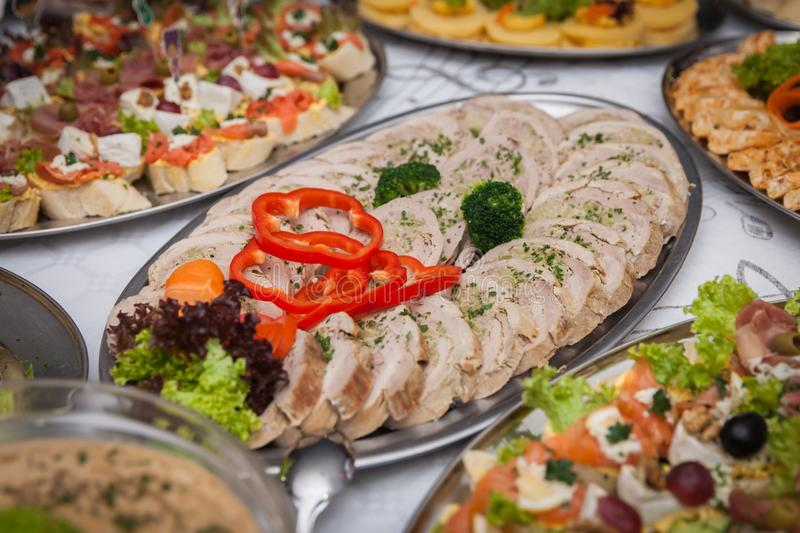 Catering for corporate parties and weddings. Full of good food royalty free stock photo