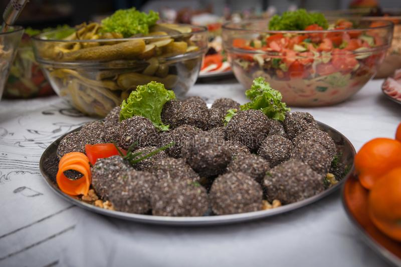 Catering for corporate parties and weddings. Full of good food stock photo