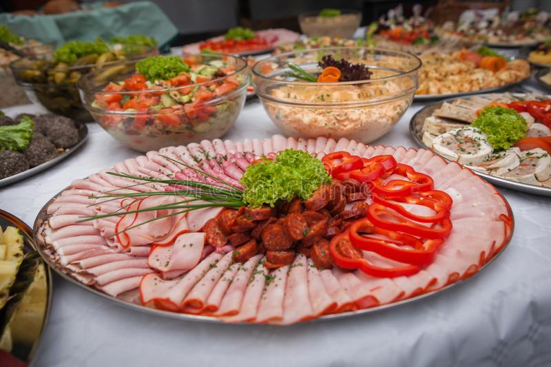Catering for corporate parties and weddings. Full of good food stock photos