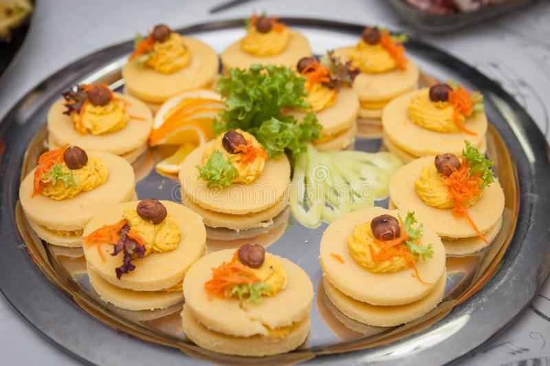Catering for corporate parties and weddings. Full of good food stock image