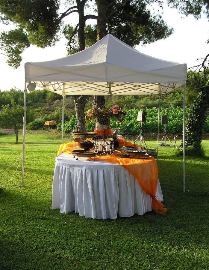 Catering, de ontvangst van het huwelijksbanket stock foto