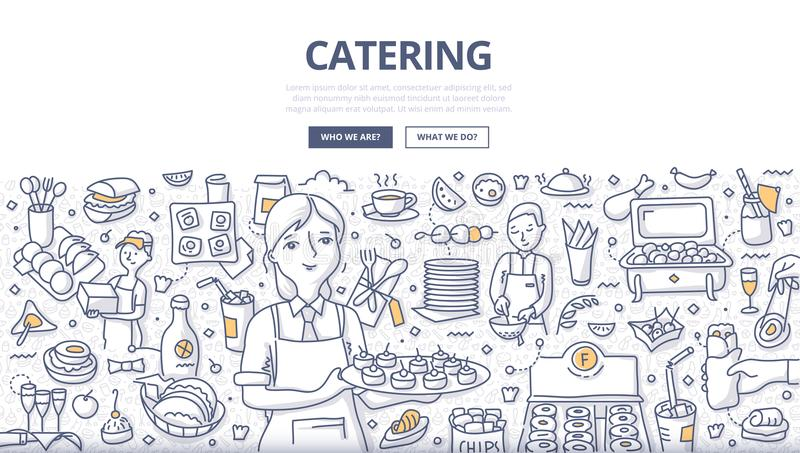 Catering Doodle Concept. Doodle vector illustration of waitress on some festive event. Restaurant or private caterer. Concept of catering for web banners, hero vector illustration