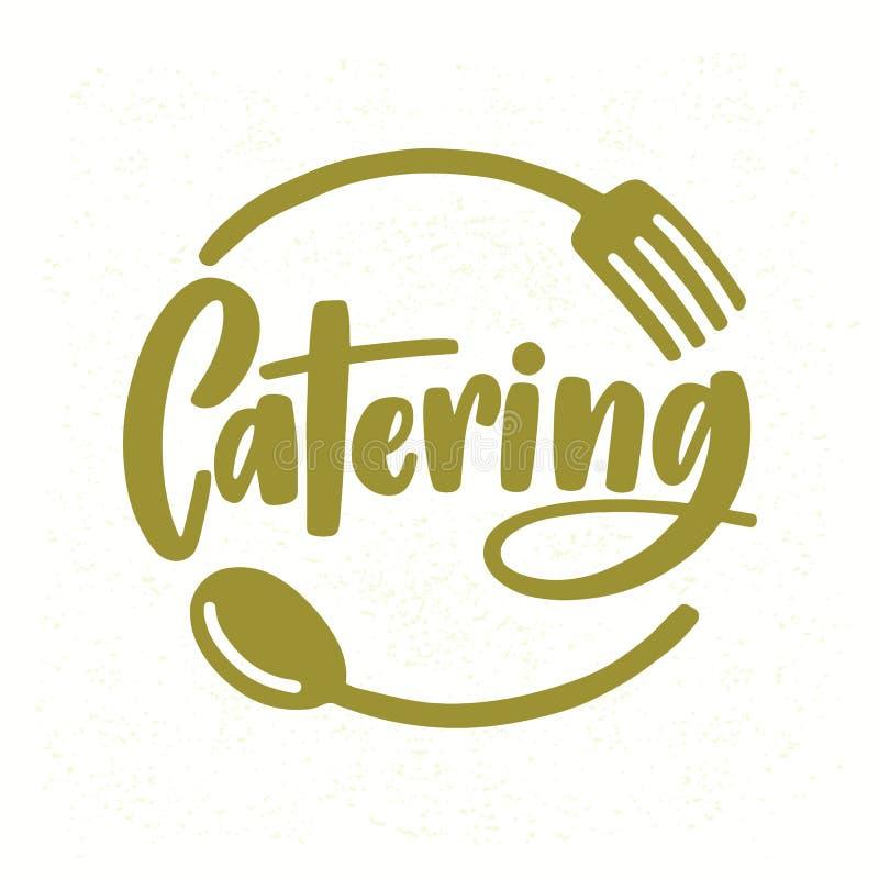 Catering firmy logo z eleganckim literowaniem ręcznie pisany z kursywną chrzcielnicą dekorował z rozwidleniem i łyżką kreatywnie  royalty ilustracja