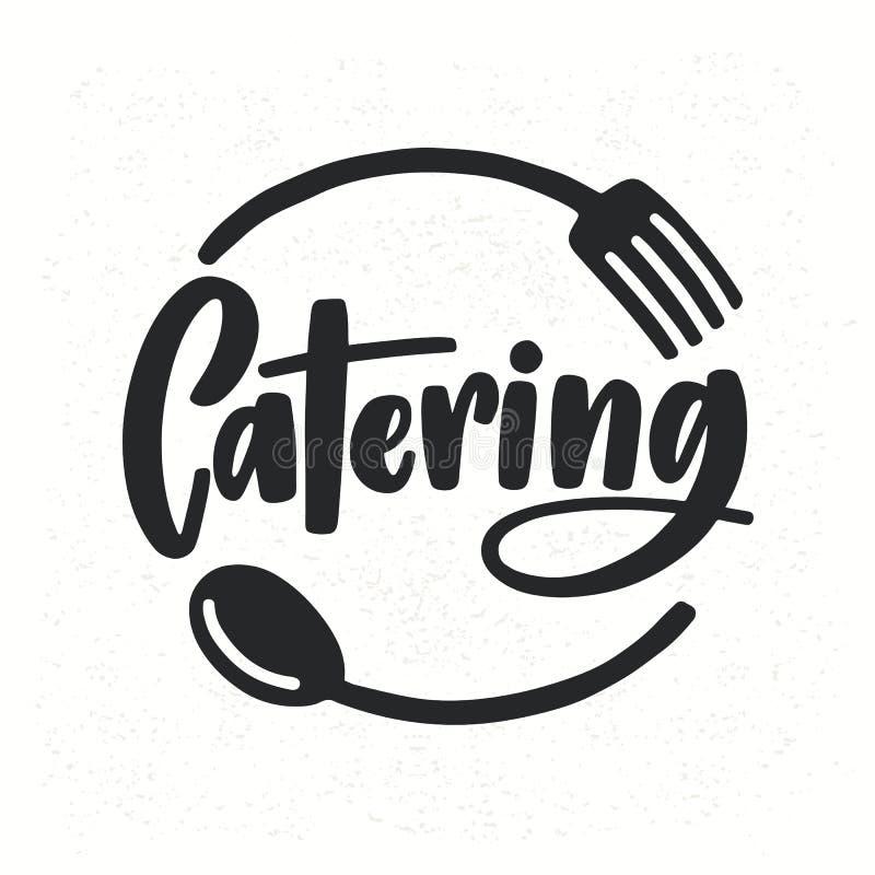 Catering firmy logotyp z literowaniem pisać z kaligraficzną kursywną chrzcielnicą dekorował z cutlery lub kitchenware ilustracji