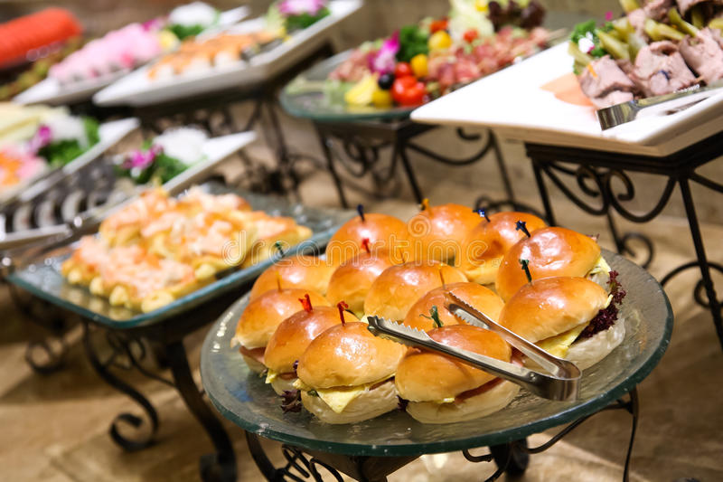 Catering food. At a wedding party stock image