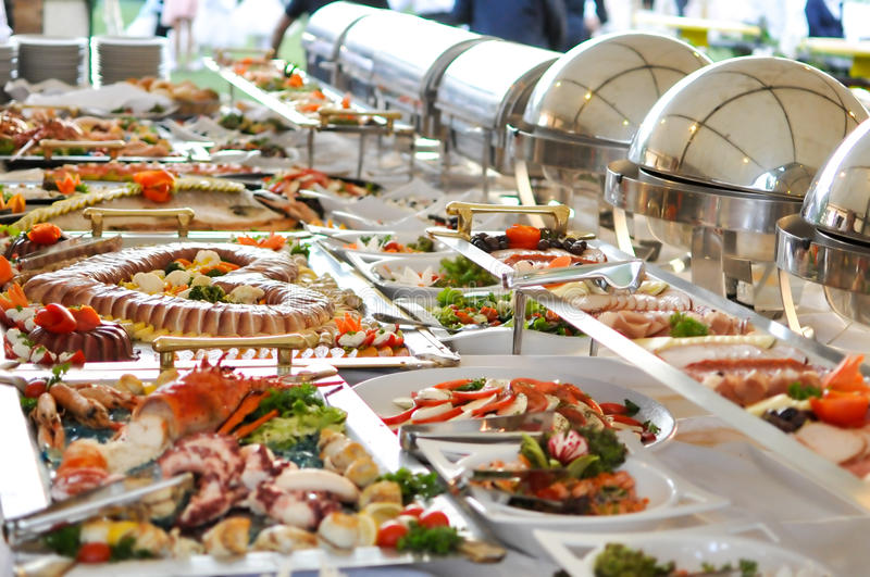 Catering food, close up. Catering food, decorated on table for serving stock images