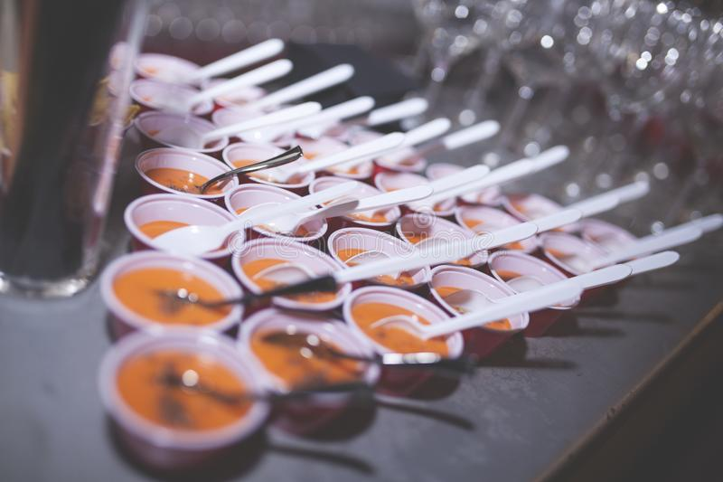 Food catering on company party royalty free stock photo