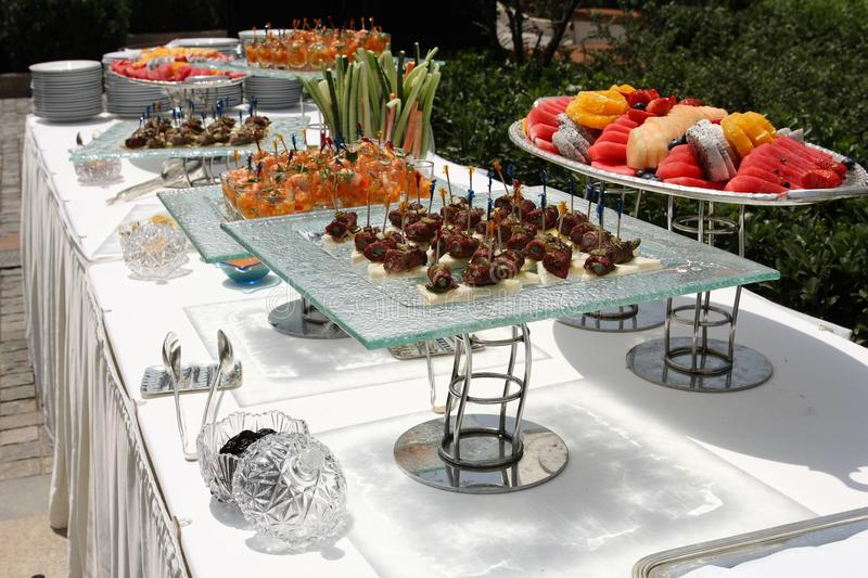 Catering food. At an outdoor wedding party stock photo