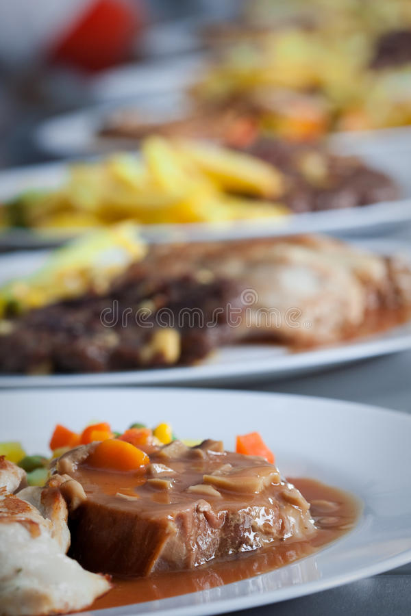 Catering food at restaurant kitchen royalty free stock photo