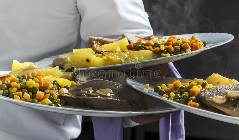 Catering food at restaurant kitchen royalty free stock image