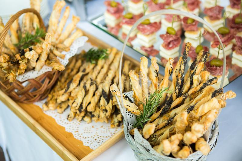 Catering Food Wedding Event Table. Buffet line in Wedding. Delicious appetizer close-up. Catering Food Wedding Event Table. Buffet line in Wedding. Delicious stock photography