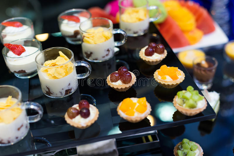 Catering food. At a wedding party stock images