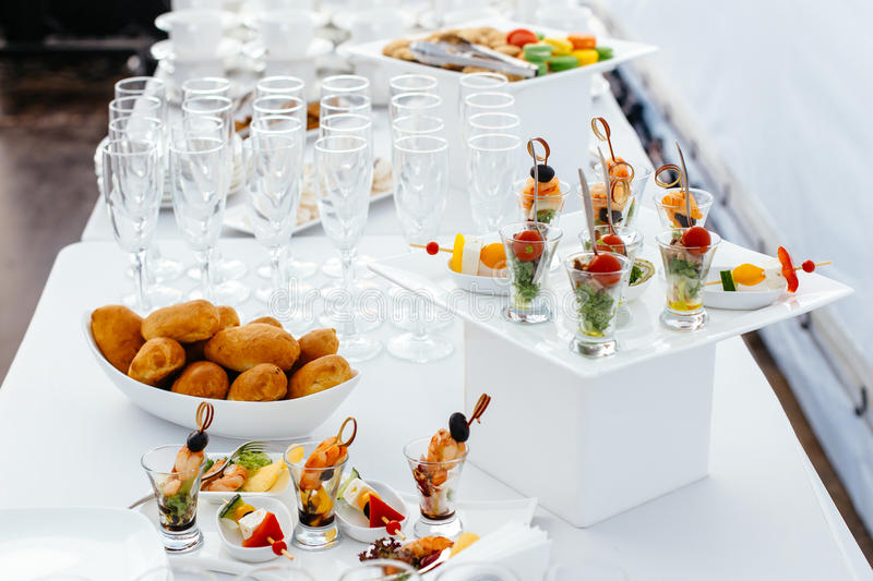 Catering food wedding, white beautiful table-3. stock image
