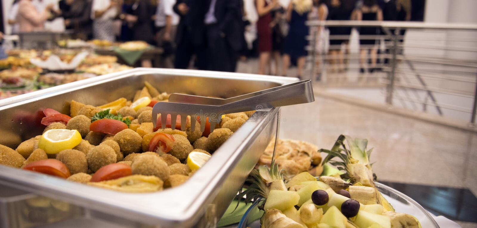 Catering food for weddings or other events. Picture of a well decorated catering food for weddings or other events royalty free stock image