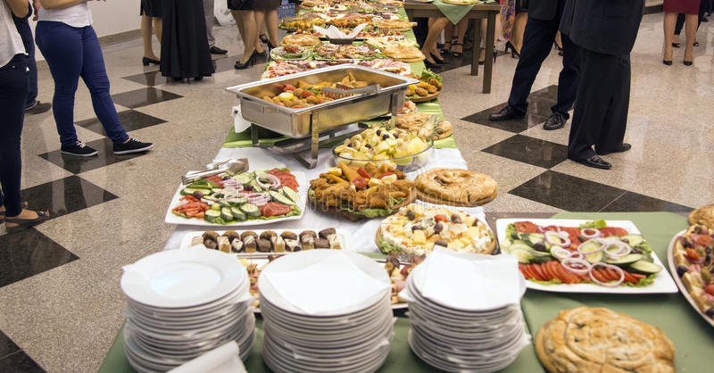 Catering food for weddings or other events. Picture of a well decoratedn catering food for weddings or other events stock image