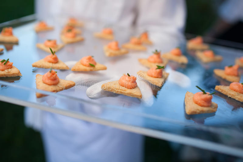 Catering (fresh delicious dish with toast and salmon paste) stock photos