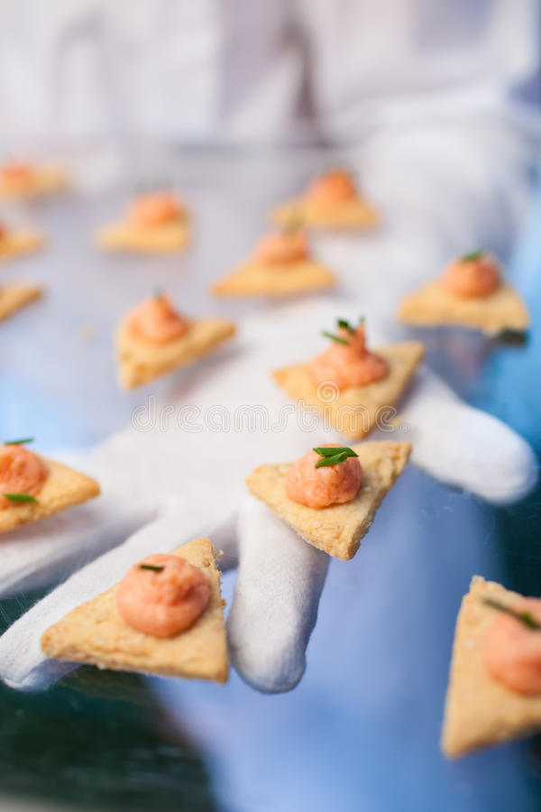 Catering (fresh delicious dish with toast and salmon paste) royalty free stock photography