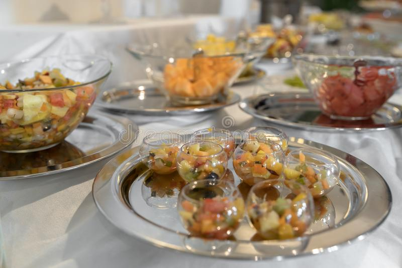 Catering with fresh fruits stock photos