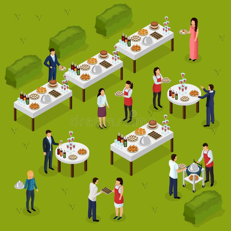 Catering Isometric Composition royalty free illustration