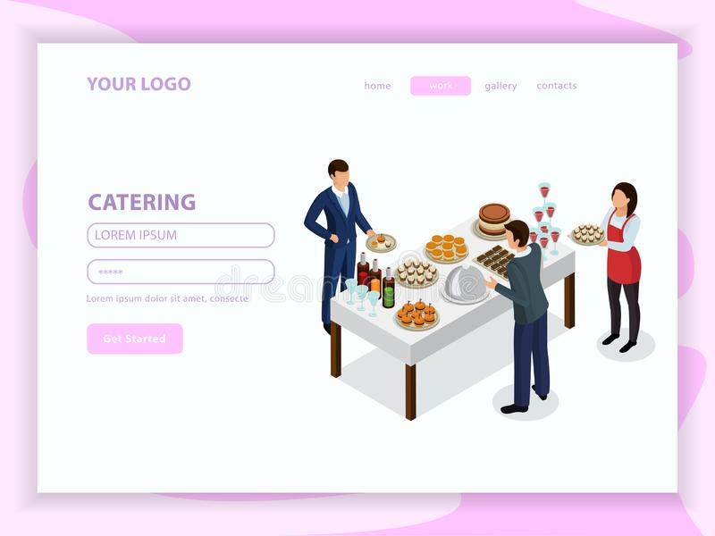 Catering Isometric Web Page royalty free illustration