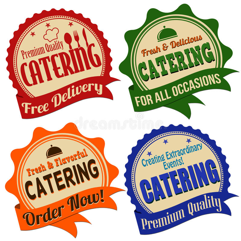 Catering label, sticker or stamps royalty free illustration